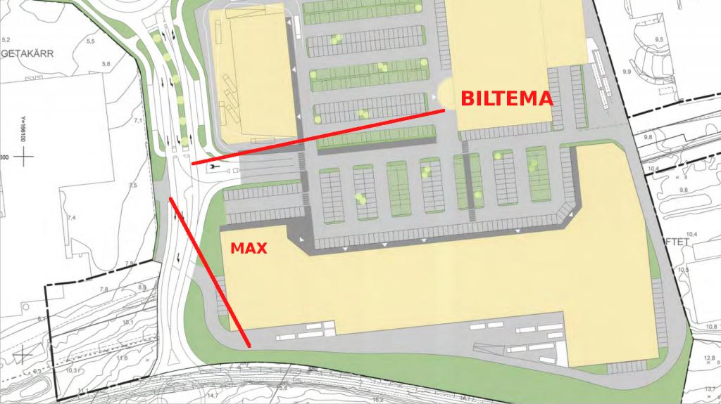 Biltema, max och siktlinjerna för skissbilderna är markerade på plankartan.